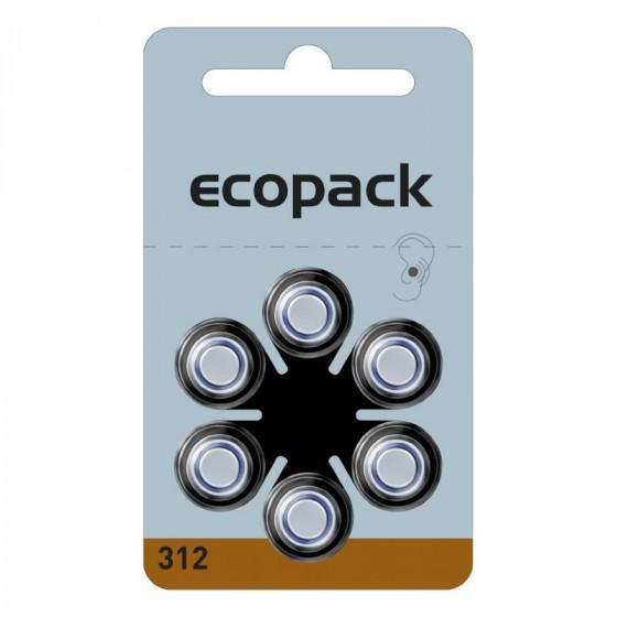 ECOPACK Hörgerätebatterie HA312 von Varta Microbattery 6-Blister