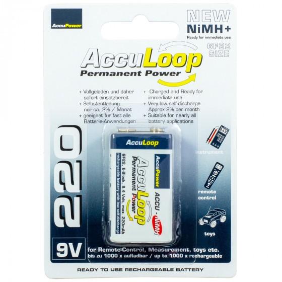 AccuPower AccuLoop AL220 Ready2Use Akku 9V-Block NiMH 220mAh