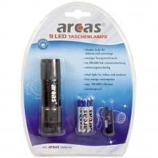 Arcas 9-LED-Taschenlampe schwarz