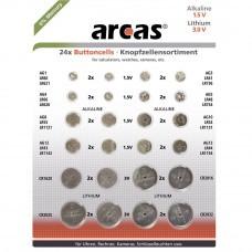 24-teiliges Knopfzellenset Alkaline und Lithium, verschiedene Größen