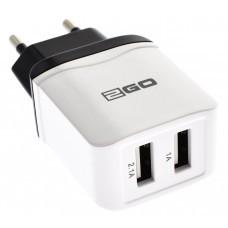 2GO Steckerlader Netz-Ladegerät mit 2 USB Ausgängen