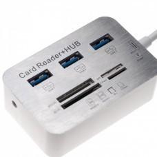 Kartenleser/Kartenlesegerät USB 3.0 Typ A zu 3x USB-Hub + MS/SD/M2/TF