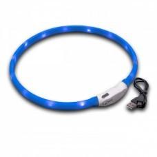 VHBW Hunde-Halsband mit LED's, blau, 65cm