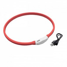 VHBW Hunde-Halsband mit LED's, rot, 65cm