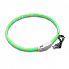 VHBW Hunde-Halsband mit LED's, grün, 65cm