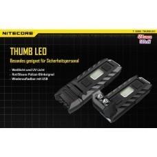 Nitecore THUMB UV LED-Schlüsselanhänger-Taschenlampe, mit UV-Licht 45 Lumen, 120° neigbarer Kopf