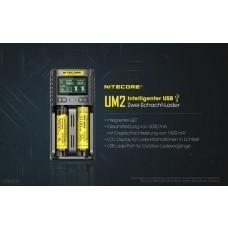 Nitecore UM2 Zwei-Slot-Ladegerät für Li-Ion, Li-Ion IMR, LiFePO4, NiMH, NiCd Akkus