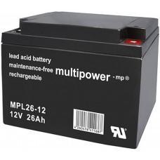 Multipower MPL26-12 Blei-Akku 12Volt 10-12 Jahresbatterie
