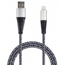 Cable de datos USB 2GO USB a Lightning nylon gris
