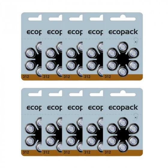 ECOPACK hearing aid batteries HA312 60pcs