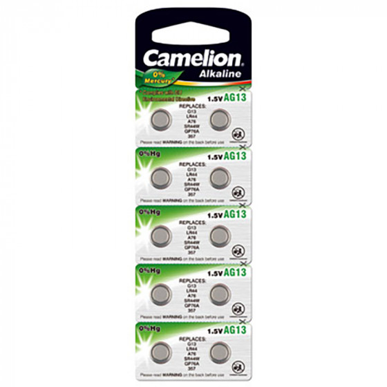 Alkaline battery LR44, V13GA, A76, 82, LR1154, 357A, 10pcs