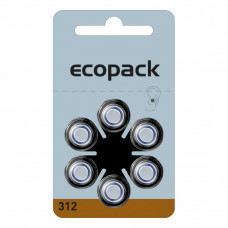 ECOPACK hearing aid batteries HA312 6pcs