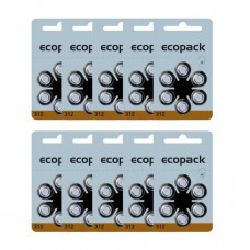 ECOPACK hearing aid batteries HA312 60pcs