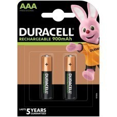 Duracell Rechargeable AAA, Micro, HR03 Battery 900mAh, 2-pack