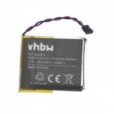 VHBW Battery for TomTom Spark 3, 280mAh