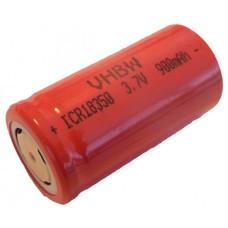 VHBW battery cell Li-Ion type 18350 900mAh, Flattop