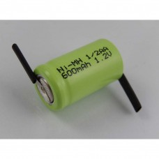 VHBW rechargeable battery 1/2AA with soldering lug in Z-shape, NiMH, 1.2V, 600mAh