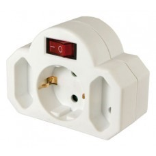 Arcas 3-way adapter plug, 1 x Schuko plug, 2 x Euro plug, with switch and child-proof lock