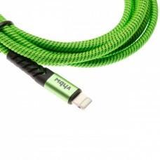 2in1 data cable USB 2.0 to Lightning, nylon, 1.80m, green-black