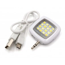 External selfie light, lamp white with 16 LED's and integrated rechargeable battery