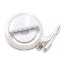 External selfie light, lamp white with 36 LED's with integrated rechargeable battery