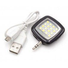 External selfie light, lamp black with 16 LED's and integrated rechargeable battery
