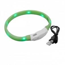 VHBW Dog Collar with LED's, green, 35cm