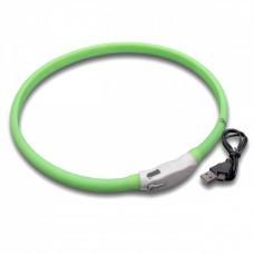 VHBW Dog Collar with LED's, green, 65cm