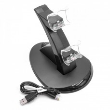 LED dual charging station for Sony PlayStation 4 Pro/Slim controller, black