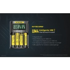 Nitecore USB Charger UM4 for Li-Ion, IMR, LiFePO4 (18650) NiMH/NiCd Batteries
