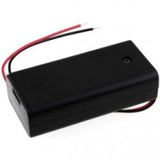Battery holder for 2x Mignon/AA batteries with connection cable and switch