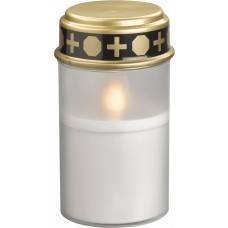 LED grave light with realistic candlelight, white